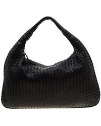 Bottega Veneta Black Intrecciato Leather Maxi Veneta Hobo