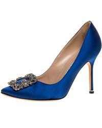 Manolo Blahnik Blue Satin Hangisi Embellished Pointed Toe Pumps