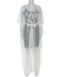 Oscar de la Renta White Crochet Maxi Belted Kaftan