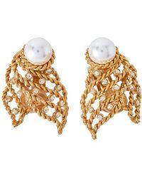 Oscar de la Renta Twisted Gold Tone Pearl & Crystal Clip On Earrings - Metallic
