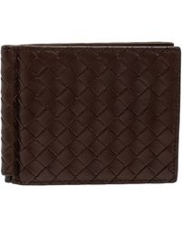Bottega Veneta Dark Brown Intrecciato Leather Money Clip Bifold Wallet