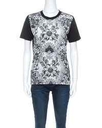 Louis Vuitton Black Printed Silk Crew Neck T-shirt