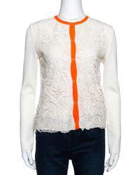 Dior Cream Guipure Lace & Knit Contrast Neon Trim Cardigan S - Multicolour