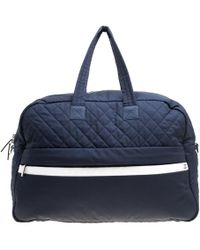 Chanel - Navy Blue Nylon Sport Line Front Zip Weekender Travel Bag - Lyst