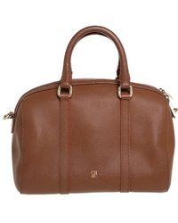 Carolina Herrera - Brown Textured Leather Mini Andy Boston Bag - Lyst