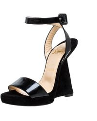 Christian Louboutin Black Suede And Patent Leather Djaldos Spechio Ankle Strap Wedges