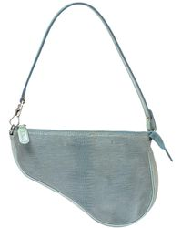 Dior Blue Lizard Effect Suede Saddle Bag