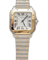 Cartier - Silver Dial Santos De Steel & Yellow Gold Medium Size 35mm - Lyst