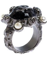 Chanel Cc Black Enamel Silver Tone Cocktail Ring