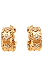 Van Cleef & Arpels Perlée Clover Diamond 18k Rose Gold Hoop Earrings - Metallic