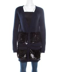Louis Vuitton Navy Blue Sequin Embellished Button Front Cardigan