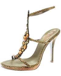 Rene Caovilla Yellow Embossed Python Leather Crystal Embellished Strappy Sandals