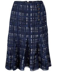 Tory Burch Navy Blue And White Checked Pleated Silk Wess Skirt