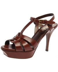 Saint Laurent - Brown Leather Tribute Platform Ankle Strap Sandals - Lyst
