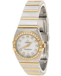 Omega Mother Of Pearl 18k Yellow Gold And Stainless Steel Diamond Constellation Double Eagle Women's Wristwatch 24 Mm - Metallic