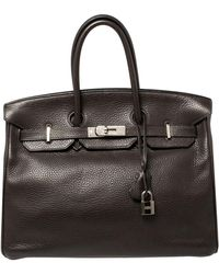 Hermès Cacao Clemence Leather Palladium Hardware Birkin 35 Bag - Brown