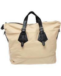 Lancel Beige/black Nylon And Leather Basket Zip Tote - Natural