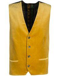 Etro Mustard Yellow Velvet Silk Panel Detail Minete Vest L