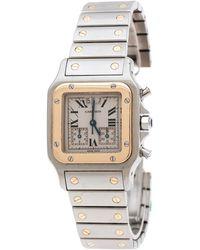 Cartier Cream 18k Yellow Gold Stainless Steel Santos Galbée 2425 Women's Wristwatch 29 Mm - Metallic