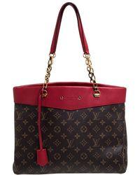 Louis Vuitton Cerise Monogram Canvas Pallas Shopper Bag - Red