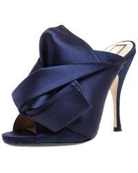 N°21 Navy Blue Satin Raso Knot Peep Toe Mules