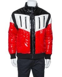 Balmain Tricolor Quilted Puffer Jacket - Red