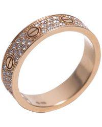 Cartier Love Ring Diamond Paved 18k Yellow Gold Size 54 - Metallic