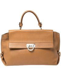 Ferragamo Tan Leather Sofia Top Handle Bag - Brown