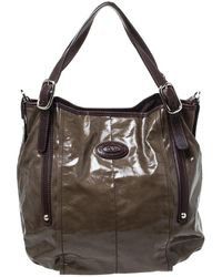 Tod's Olive Green/brown Glazed Coated Canvas And Leather G-line Easy Sacca Tote