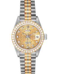 Rolex Champagne Diamonds 18k White Yellow Rose Gold President Tridor 69139 Wristwatch 26 Mm - Metallic