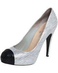 Chanel Metallic Silver/black Suede Cc Cap Toe Platform Court Shoes