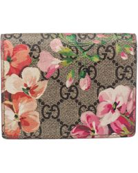 Gucci Pink GG Supreme Canvas Blooms Card Case