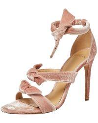 Alexandre Birman Pink Velvet Lolita Knots Ankle Strap Sandals