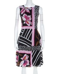 Ferragamo Multicolor Floral Print Silk Sleeveless Fit And Flare Dress S