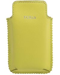 Furla Lime Green Leather Phone Case