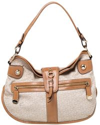 DKNY Beige/tan Signature Canvas And Leather Hobo - Natural