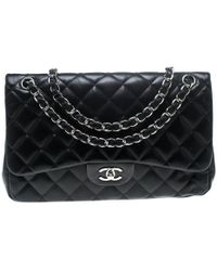 79eee56ce3d2d3 Chanel - Black Quilted Leather Jumbo Classic Double Flap Bag - Lyst
