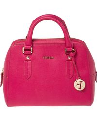 Furla Magenta Leather Elena Satchel - Pink