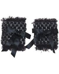 Chanel Dark Grey Wool Mohair Blend Armbands - Black