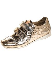 Louis Vuitton Metallic Gold Monogram Mirror Tennis Shoes Size 37.5