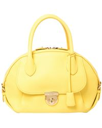 Ferragamo Yellow Leather Medium Fiamma Satchel
