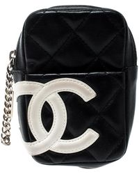 Chanel Black/white Quilted Leather Cambon Ligne Phone Case