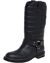 Chanel Black Leather Star Harness Cc Mid Calf Boots