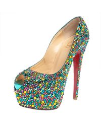 Christian Louboutin Multicolour Strass Embellished Suede Highness Platform Court Shoes