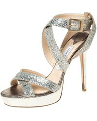 Jimmy Choo Metallic Gold Glitter Vamp Platform Strappy Sandals