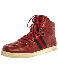 Gucci Red Ssima Leather Viaggio Web Detail High Top Sneakers