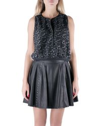 Yigal Azrouël Jet Optic Paisley Embroidered Lace Crop Top - Black