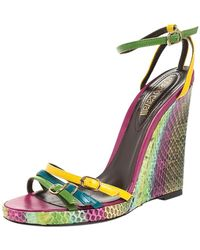 Roberto Cavalli Multicolor Leather And Python Wedge Strappy Sandals