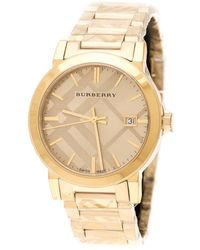 Burberry Gold Check Stamped Gold Plated Stainless Steel The City Bu9038 Unisex Wristwatch 38 Mm - Metallic