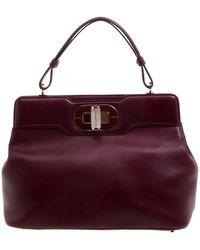 BVLGARI Burgundy Leather Isabella Rossellini Tote - Purple